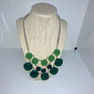 Necklace Green Jewels on Silver Tone Chain